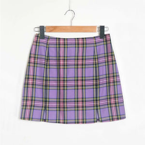 """Ultraviolet"" Plaid Skirt"