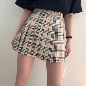 """Nude"" Plaid Pleated Skirt"