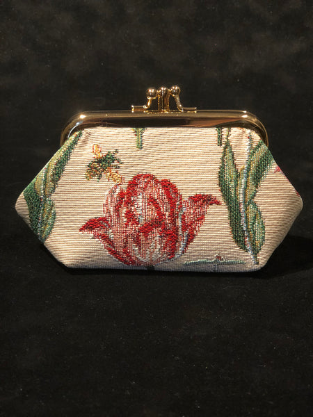 Wallet with snap closure - Tulips - off-white