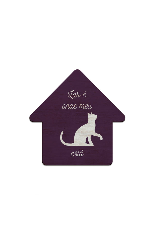 Placa Decorativa Cat House 28x22cm