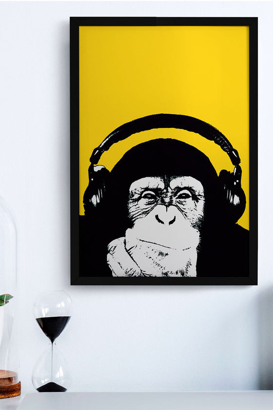 Quadro Monkey Moldura Fit Black 32x46cm