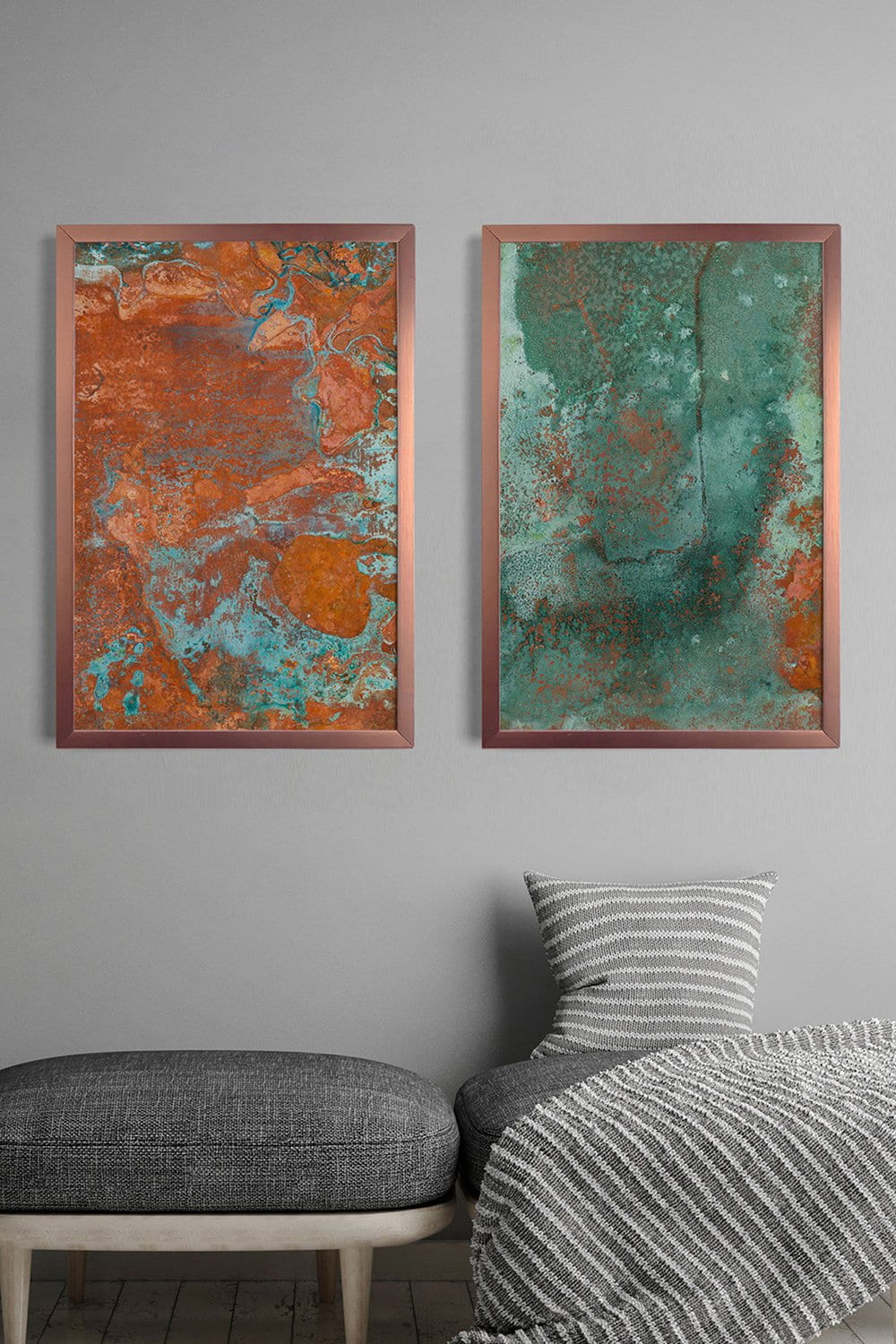 2 Quadros Copper and Teal Fit Rose