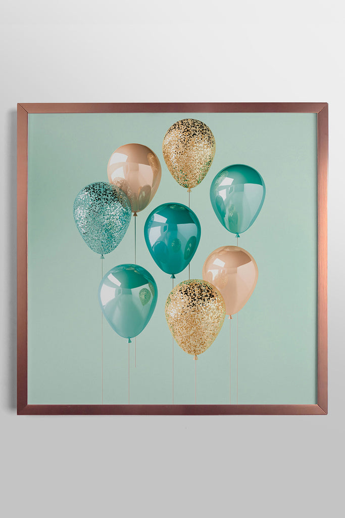 Quadro Copper and Teal 43cm x 43cm