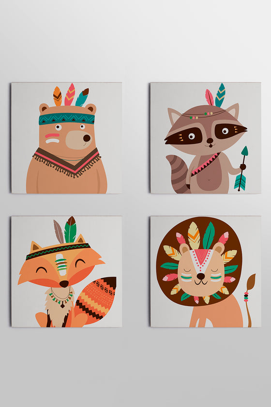 Kit 4 Quadros Placas 20x20cm Woodland