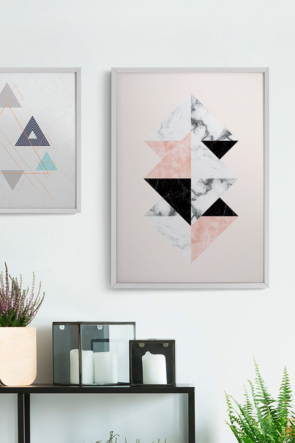 2 Quadros Geometric White Fit White