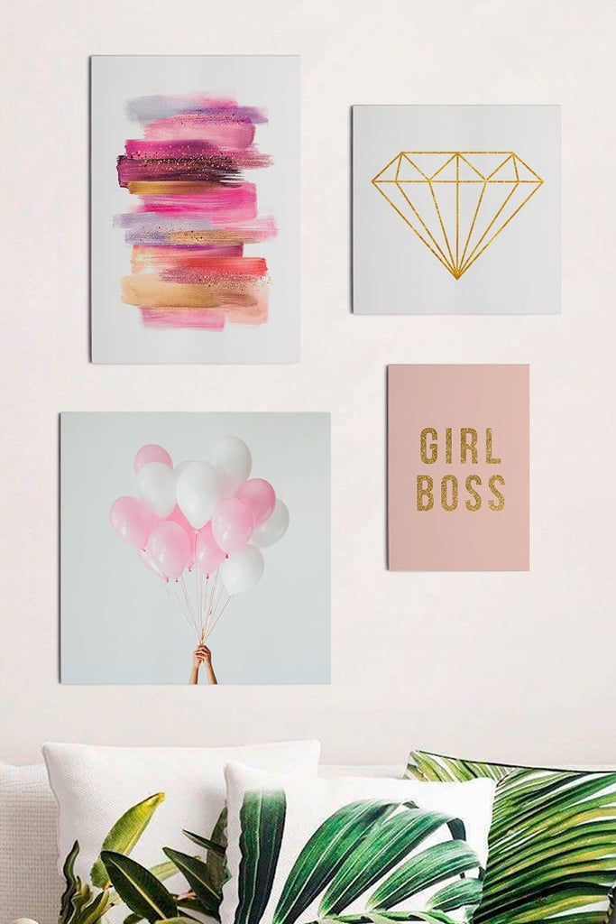 4 Quadros Placas Girl Boss