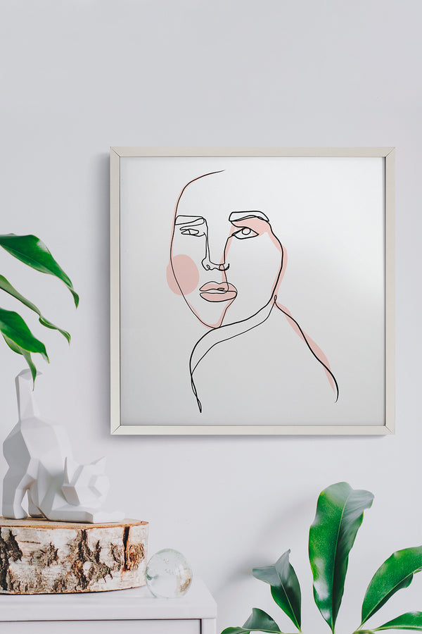 Quadro One Line Face Moldura Fit White 43cm x 43cm