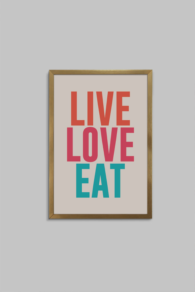 Quadro Fast 22x32cm Fit Gold Vintage Live Love Eat