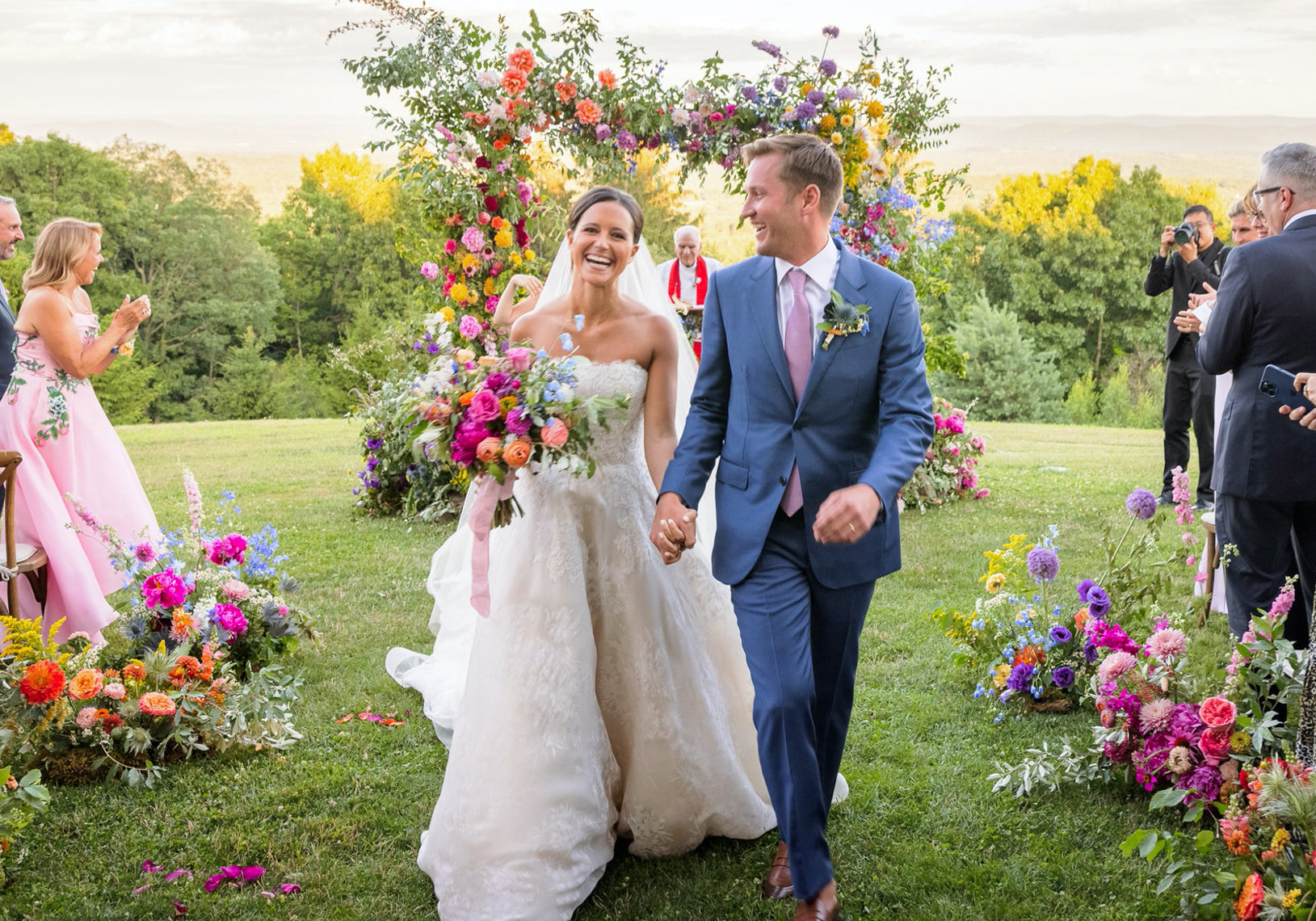 Colorful floral arbor at Cedar Lakes by Tin Can Studios for Ellie Monahan