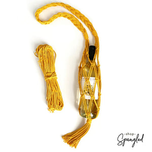 Golden yellow macrame wine water bottle water tote bag diy kit
