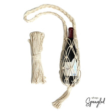Load image into Gallery viewer, Natural macrame wine water bottle water tote bag diy kit