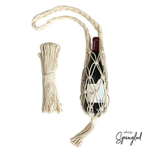 Natural macrame wine water bottle water tote bag diy kit