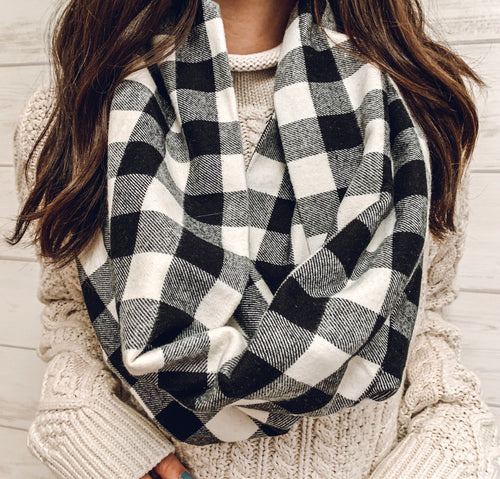 Black and White Buffalo Plaid Cowl