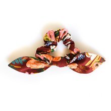Load image into Gallery viewer, Burgundy Floral Bow Scrunchie