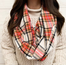 Load image into Gallery viewer, Coral Tartan Plaid Cowl