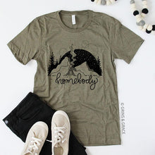 "Load image into Gallery viewer, ""Homebody"" T-Shirt in Olive"