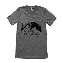 "Load image into Gallery viewer, ""Homebody"" V-neck T-Shirt in Deep Grey"