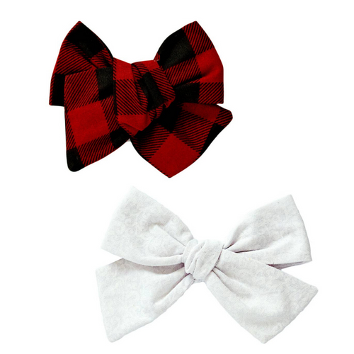 Hot Cocoa and Marshmallows Hair Bow Set
