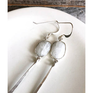 Organic Free Form Moonstone Bezel Dangle Earrings