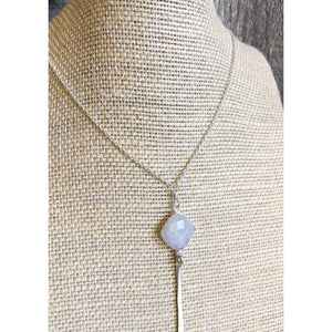 Sterling Silver Necklace with Cushion Gemstone