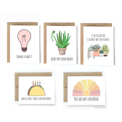 Set of 5 Greeting Cards - All Occasions