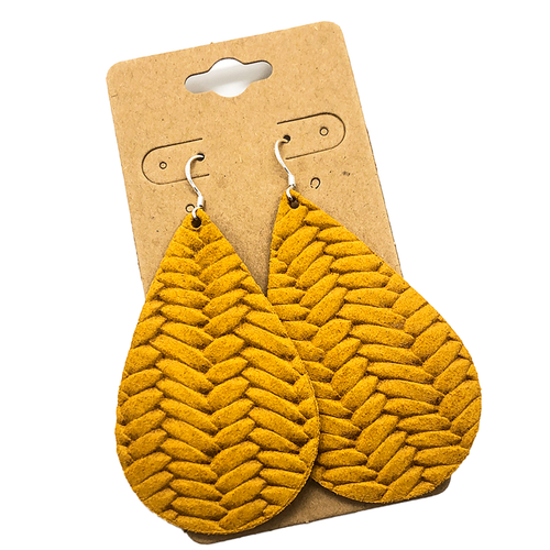 Woven Mustard Teardrop Earrings