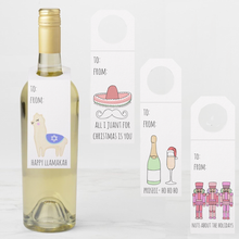 Load image into Gallery viewer, Set of 4 Holiday Wine Bottle Tags