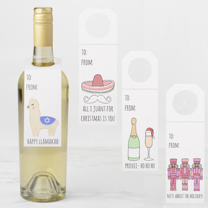 Set of 4 Holiday Wine Bottle Tags