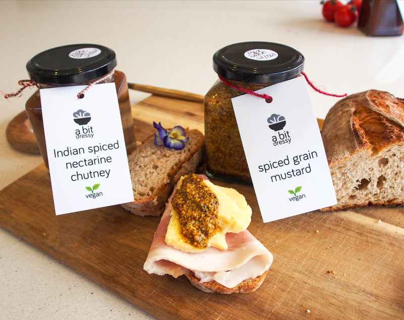 Indian Spiced Nectarine Chutney and Spiced Grain Mustard. Freshly made in Auckland