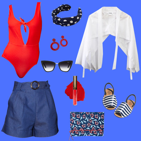 red blue and white ladies smart casual outfit with shorts and leotard