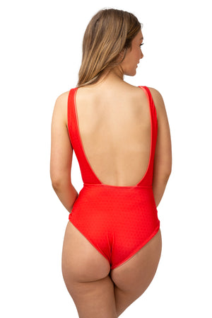 low open back red swimsuit