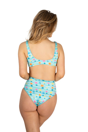 aqua light blue floral ladies high waisted cute bikini bottom pink yellow orange cheeky