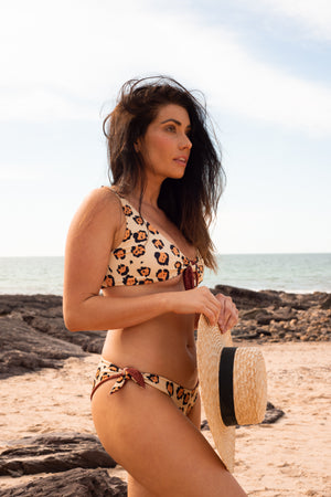 animal print leopard bikini sexy cheeky jaguar chocolate brown reversible two sided tie side