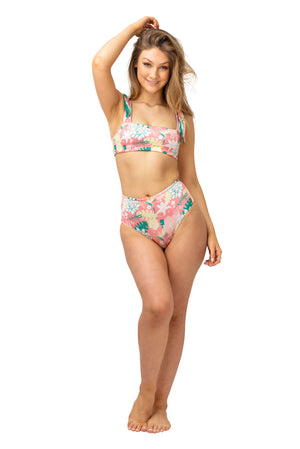 pink tropical bikini for women, bird of paradise hibiscus lotus palm