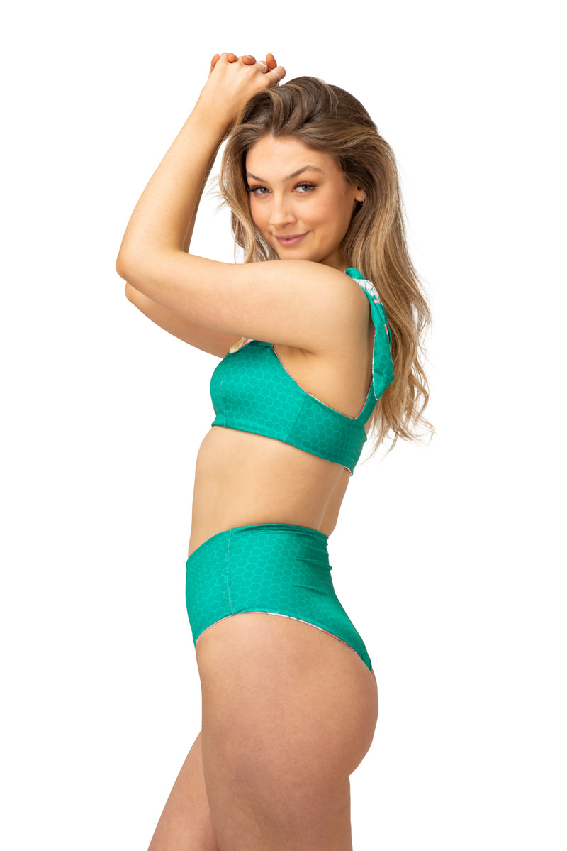 emerald green bikini maternity swimwear breastfeeding bathers high waisted