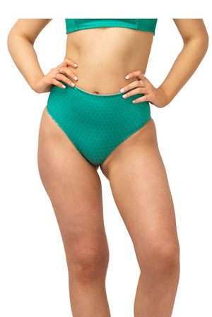 emerald green reversible swimmers high waisted bikini bottom for women