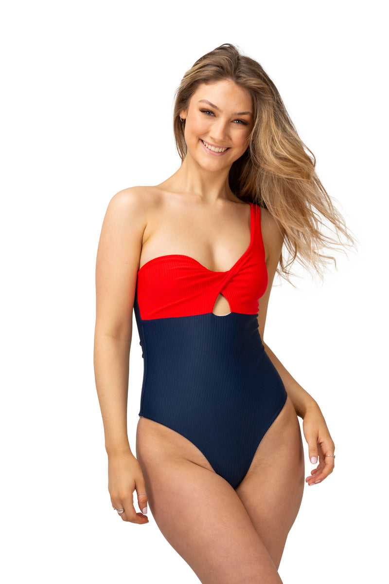 one shoulder fashion ribbed swimsuit red and navy