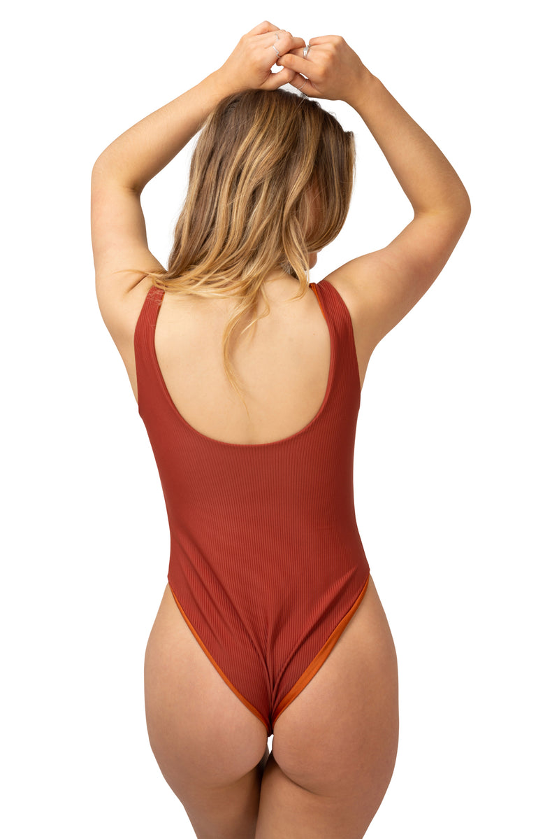 chocolate brown ss20 miami swim fashion week runway swimwear one piece full piece swimsuit ribbed corduroy lycra womens