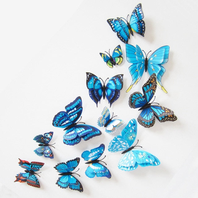12pcs/lot 3D Double Layer Decorative Butterfly