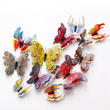 Load image into Gallery viewer, 12pcs/lot 3D Double Layer Decorative Butterfly