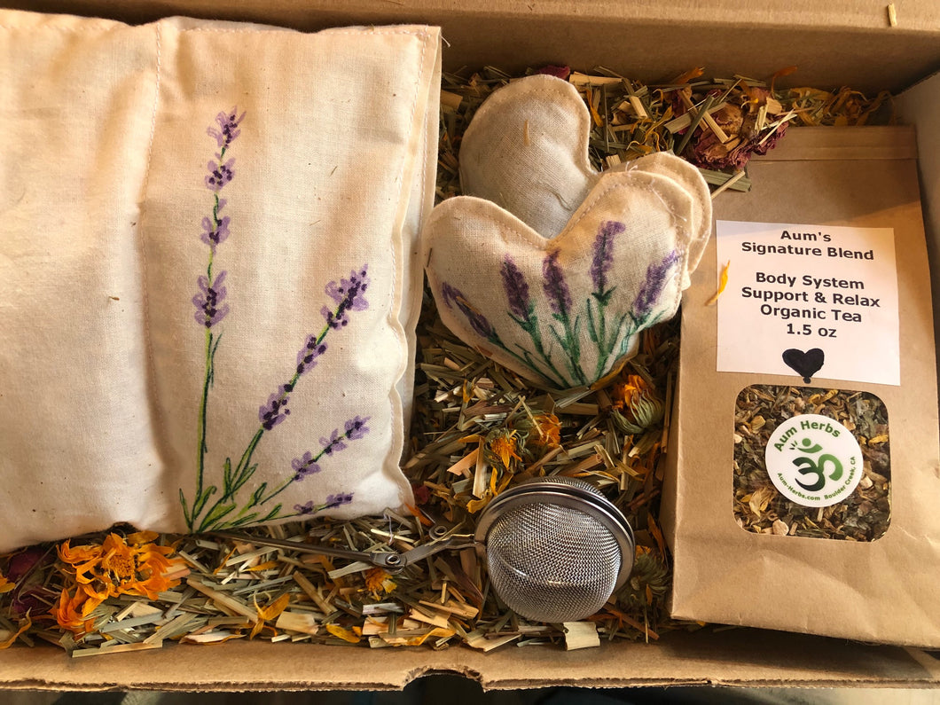 Herbal Heating /Cooling pad, tea, tea strainer, eye pillow and herbal bath