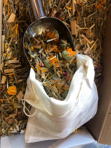 the packing material is an herbal bath. bathbag included. eco friendly