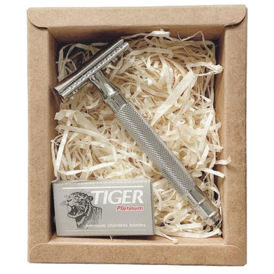 ecobrite Razor For Life - Chrome Plated Safety Razor - includes 5 Blades