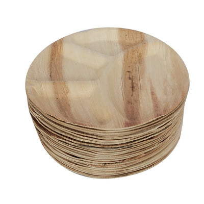 25 Eco Friendly Disposable Areca Palm Leaf 12 inches OR 30cm Round Plate 4 Compartment