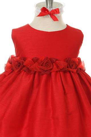 Style No. 185B - Hand-Rolled Rosette Poly Dupioni Dress