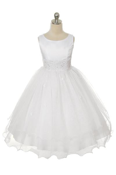 Style No. 198-K - Lace Trim Tulle Dress