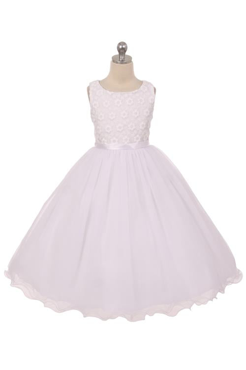 Style No. 368K - Flower Embroidered Tulle Dress