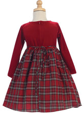 Load image into Gallery viewer, Style No. C503 - Red Velvet & Plaid Dress