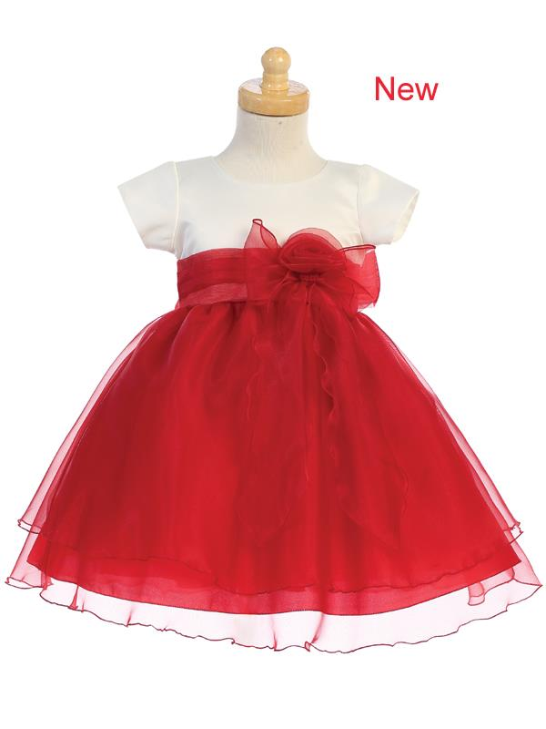 Style No. C516 - Red Satin with Crystal Organza Dress