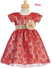 Load image into Gallery viewer, Style No. C520 - Red Lace Dress with Shiny Satin Underlay
